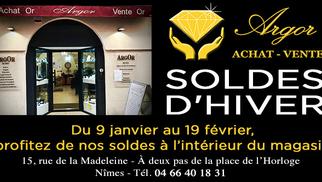 Argor Nîmes Spécialiste d'achat d'or, de vente d'or et de bijoux annonce des soldes sur les bijoux pendant les soldes d'hiver !