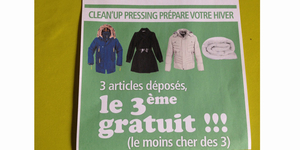 Chez Euronet Pressing Nîmes le 3ème article déposé est gratuit en octobre pour 3 articles déposés !