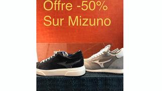 Faubourg Prohin Nîmes annonce une remise de -50% sur des sneakers Mizuno en boutique en centre-ville.(® SAAM-fabrice Chort)